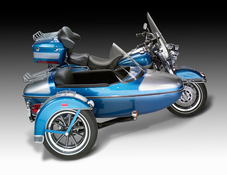 sidecar: old motorcycle combination with sidecar in gradient back