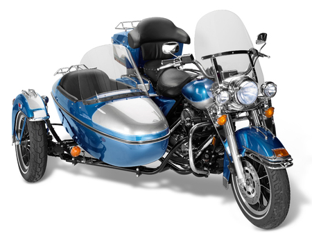 sidecar: old motorcycle combination with sidecar in white back