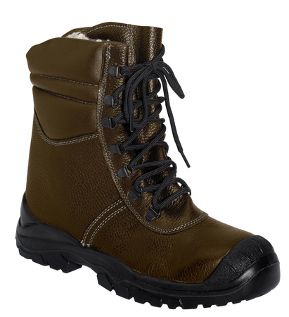 accouterment: dark brown boot in white back
