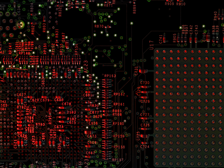 printed circuit board: d�tail full frame d'une carte de circuit imprim�, rouge s'allume