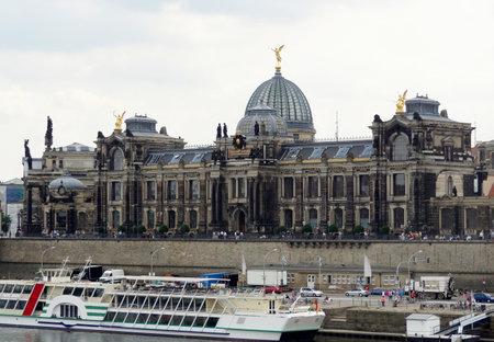 waterside: waterside scenery of a city named Dresden in Saxony (Germany) Editorial