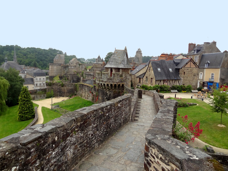 ch: city view of Fougeres, a historic town in Brittany, France Stock Photo