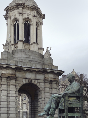 leinster: the Trinity College with statue of George Salmon in Dublin, Ireland