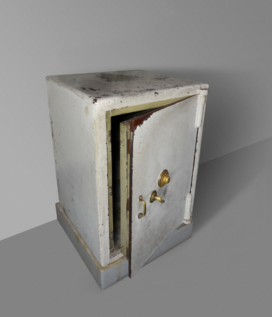concealment: dynamic shot of a old rundown open safe in sparse ambiance
