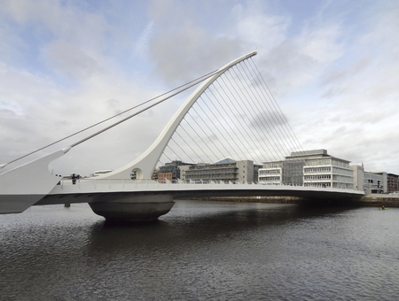 samuel: riverside scenery in Dublin with Samuel Beckett Bridge