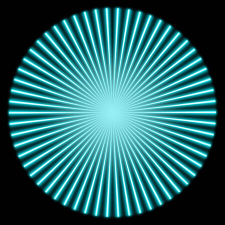 divergence: radial blue glowing striped pattern with bright center in black back Stock Photo