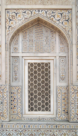 uttar pradesh: detail of Itmad-ud-daulahs tomb in Agra in Uttar Pradesh, India