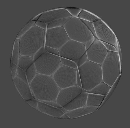 spherule: mesh wire rendering of a football sphere in grey back Stock Photo