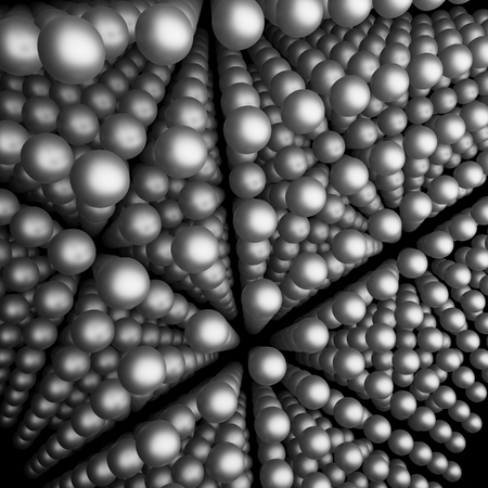 spherule: rendered picture showing lots of atomic particles in geometric formation Stock Photo