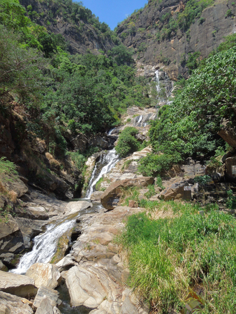 big scenery: rocky scenery Including a big waterfall in Sri Lanka