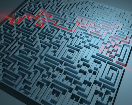 escape route: Labyrinth with red illuminated way through in blue ambiance