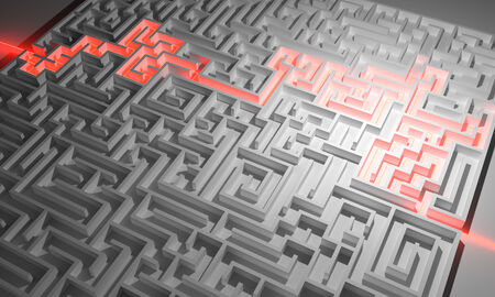 escape route: Labyrinth with red illuminated way through Stock Photo