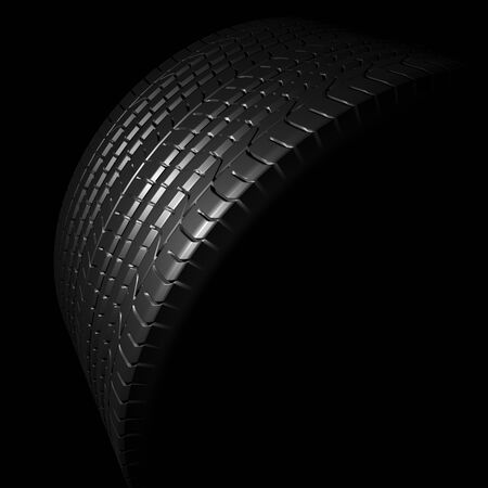 detail of a rendered black tire profile in black back