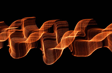 meshwork: stringed orange light effect in dark back Stock Photo