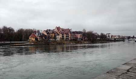regensburg: city view of Regensburg, a city in Bavaria in stormy ambiance (Germany) Stock Photo