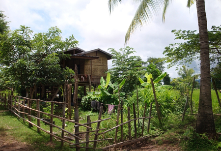 l agriculture: rural scenery with cottage and garden lakes in Laos, a country in South East Asia Stock Photo