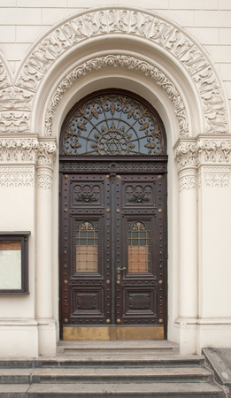urbanized: historic door seen in Pilsen, a city in the Czech Republic