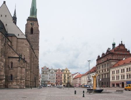 urbanized: city view with cathedral of Pilsen, a city in the Czech Republic