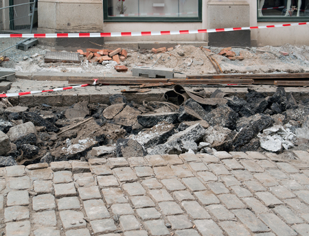urbanized: road construction zone seen in Pilsen, a city in the Czech Republic