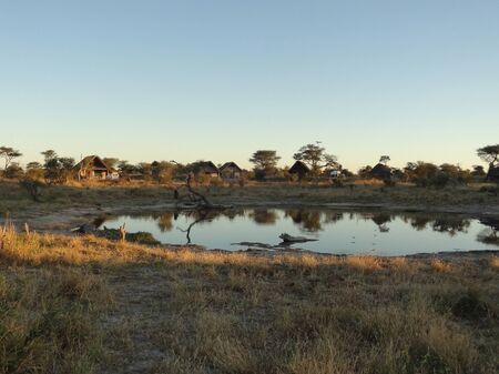 lodge: the Elephant Lodge in Botswana at evening time Stock Photo