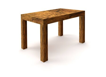 wooden leg: rendered picture showing a wooden table made of burl wood in white back