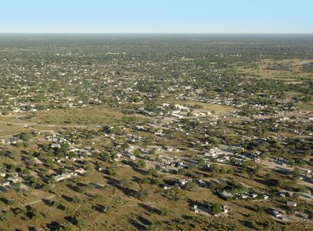 barrack: aerial view of Maun, a town in Botswana, Africa