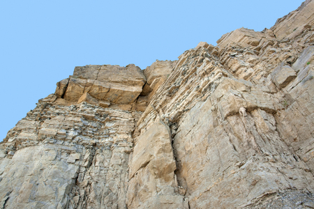 low angles: low angle view of a layered rock face seen on a quarry in Southern Germany Stock Photo