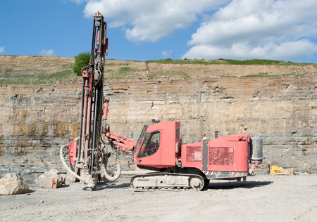 open pit: Construction drill auger in a open pit mine