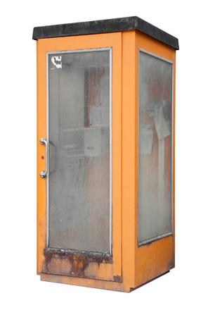 rundown: rundown orange phone box isolated on white Stock Photo