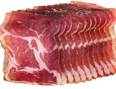 marmorate: closeup shot showing sliced raw ham pieces Stock Photo
