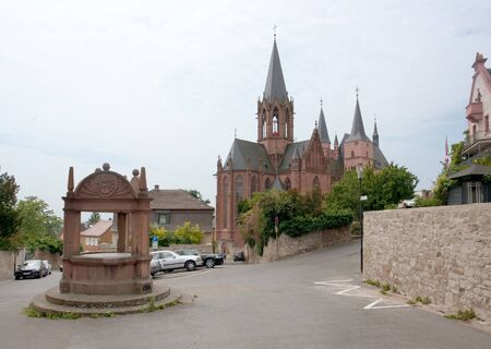 draw well: Oppenheim with Katharinenkirche in the Mainz-Bingen district of Rhineland-Palatinate in Germany