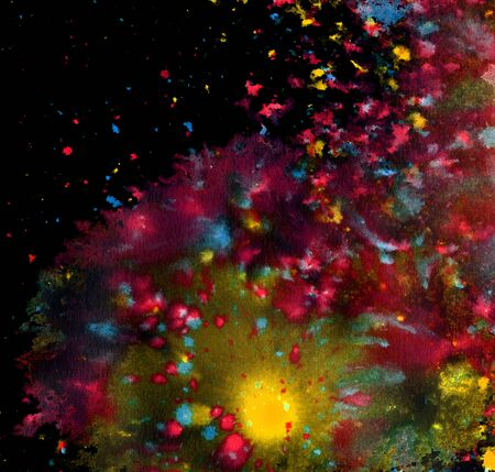 phantasy: colored paint splatters and color clouds in black back