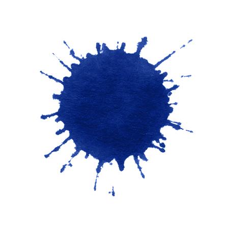 a blue paint splatter in white back