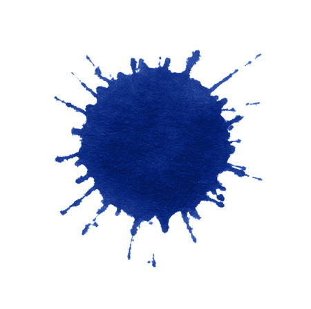 a blue paint splatter in white back
