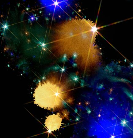 phantasy: colored paint splatters,bright stars and color clouds in black back