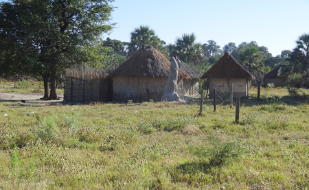indigene: indigenous village at the Okavango Delta in Botswana, Africa Stock Photo