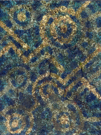 vividly: abstract picture painted by me named Ars Indigena, it shows metallic golden patterns in blue ambiance
