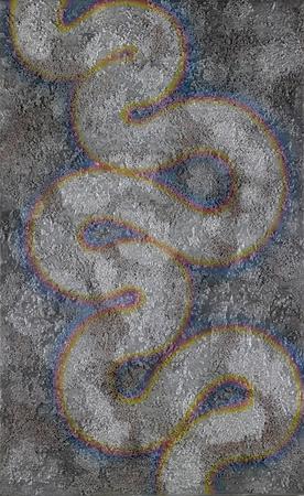 hot temper: cuadro pintado por mí que muestra un detalle de la serpiente resumen en ambiente metálico con colores de revenido