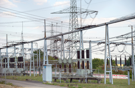power cord: detail of a electrical substation in Southern Germany