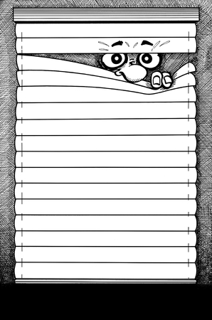 clandestine: black and white hatched illustration showing a comic-styled face lurking through a sunblind Stock Photo