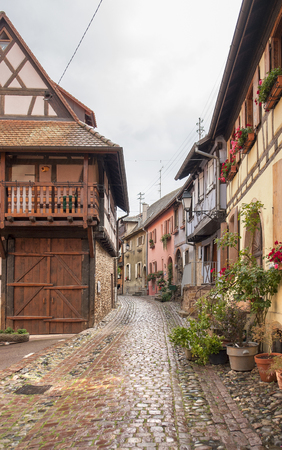 viniculture: Idyllic scenery of Eguisheim, a village in Alsace, France