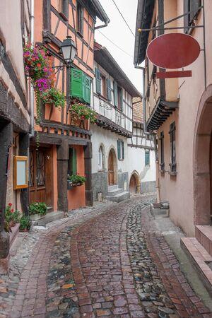 Idyllic scenery of Eguisheim, a village in Alsace, France