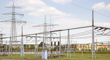 transformator: detail of a electrical substation in Southern Germany