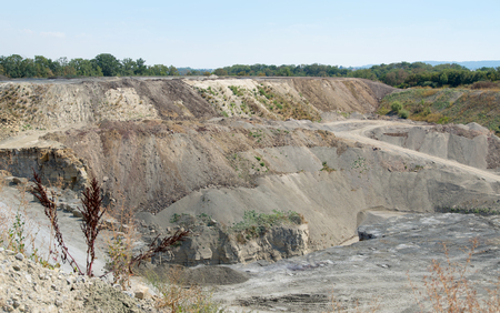 gravel pit: sunny stone pit scenery in Southern Germany Stock Photo