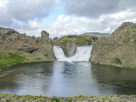 waterfall in Iceland named Hjalparfoss