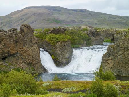 named: waterfall in Iceland named Hjalparfoss