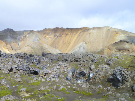 volcano slope: rocky mountain scenery seen in Iceland