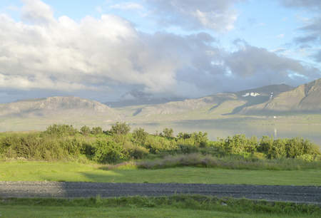 volcano slope: distant mountain scenery seen in Iceland
