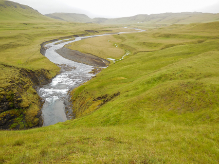 riparian: natural waterside scenery seen in Iceland Stock Photo