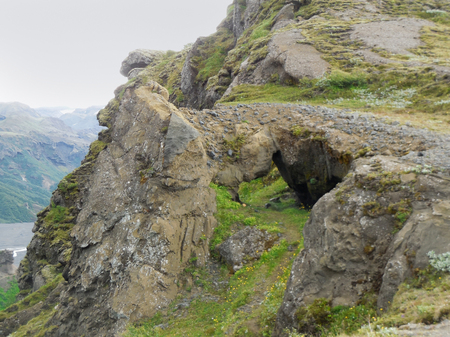 volcano slope: mountain scenery with rock formation in Iceland